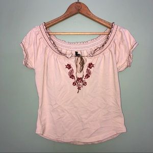 Boho Floral Design Tan Cinch Tie Front Cropped Tee